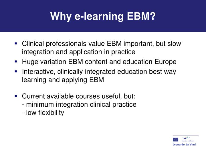 Why e-learning EBM?