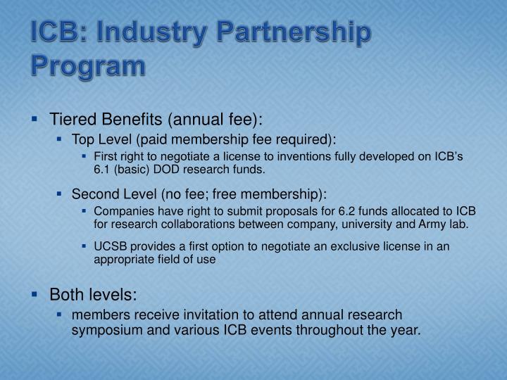 ICB: Industry Partnership Program