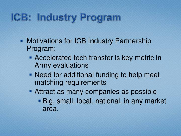 ICB:  Industry Program