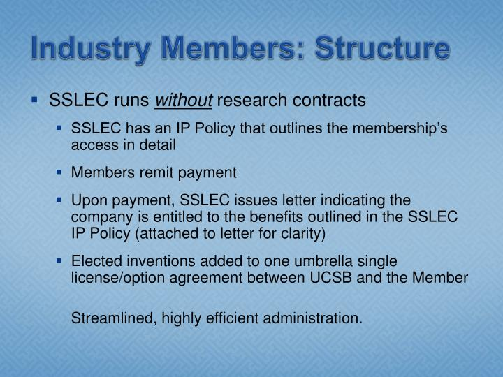 Industry Members: Structure