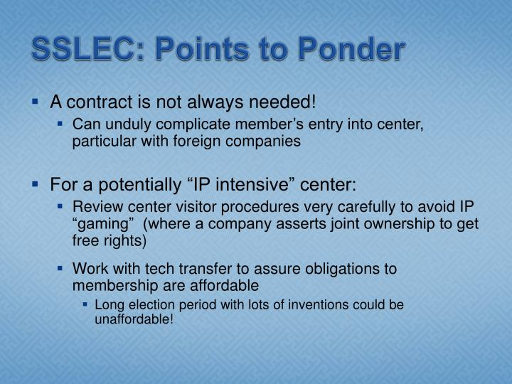SSLEC: Points to Ponder