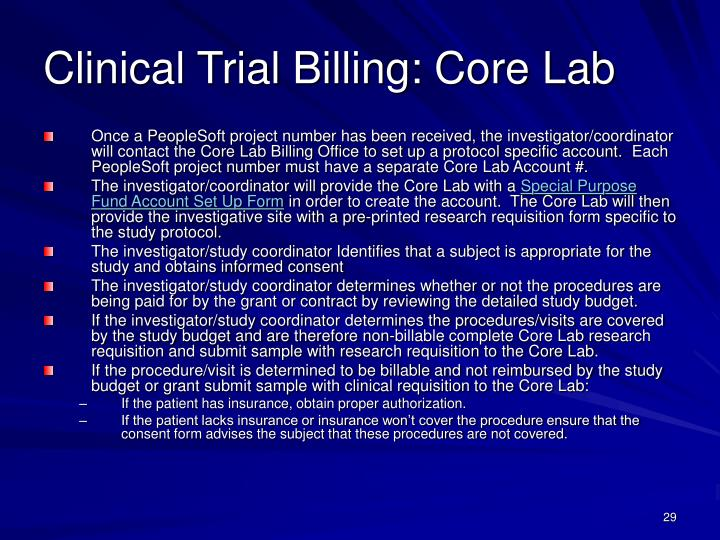 Clinical Trial Billing: Core Lab
