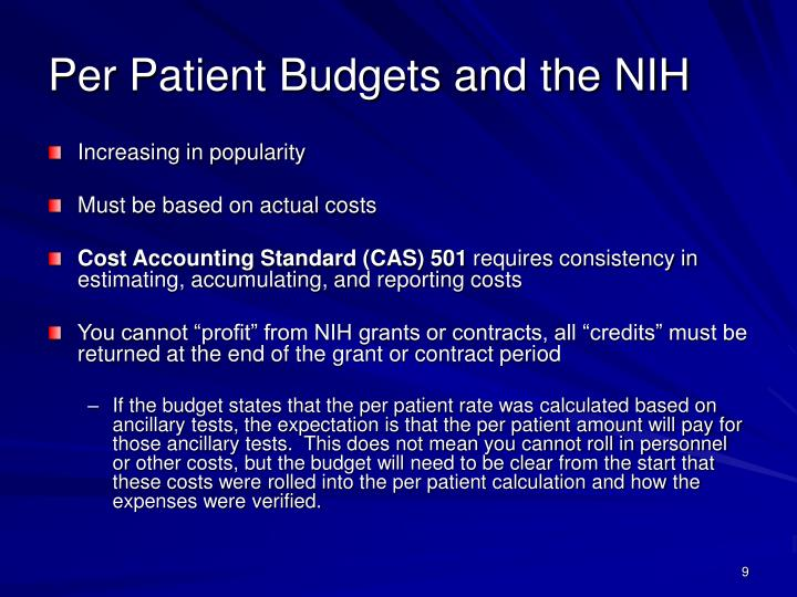 Per Patient Budgets and the NIH