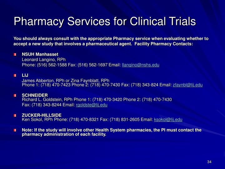 Pharmacy Services for Clinical Trials