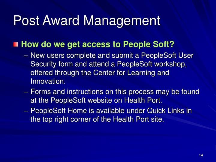 Post Award Management