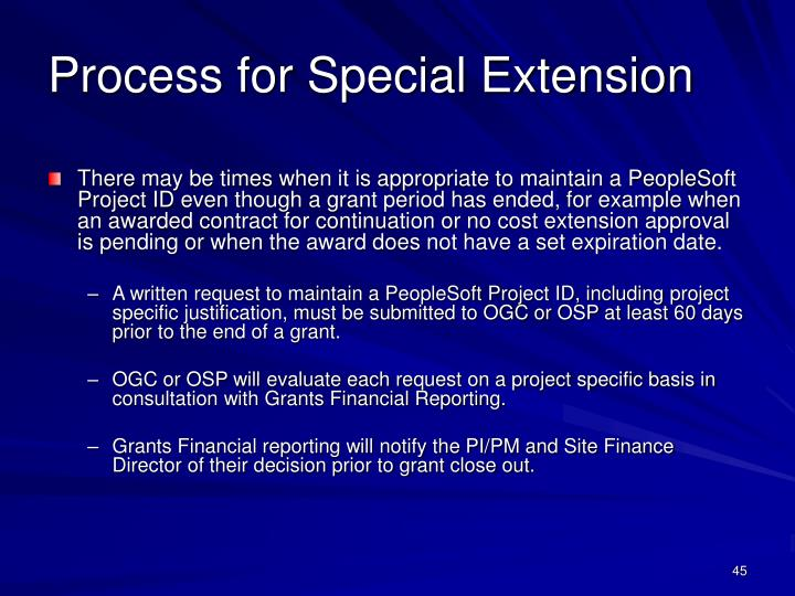 Process for Special Extension