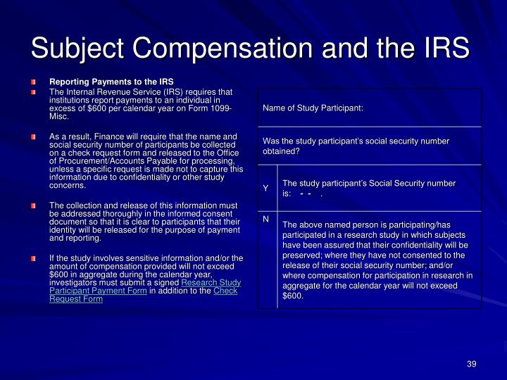 Subject Compensation and the IRS