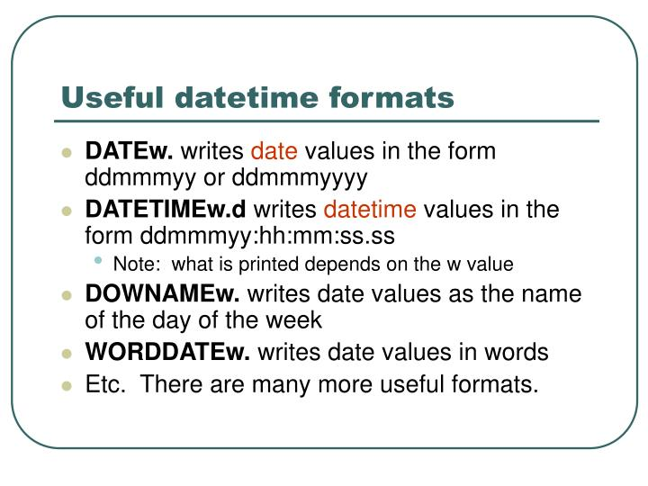 Useful datetime formats