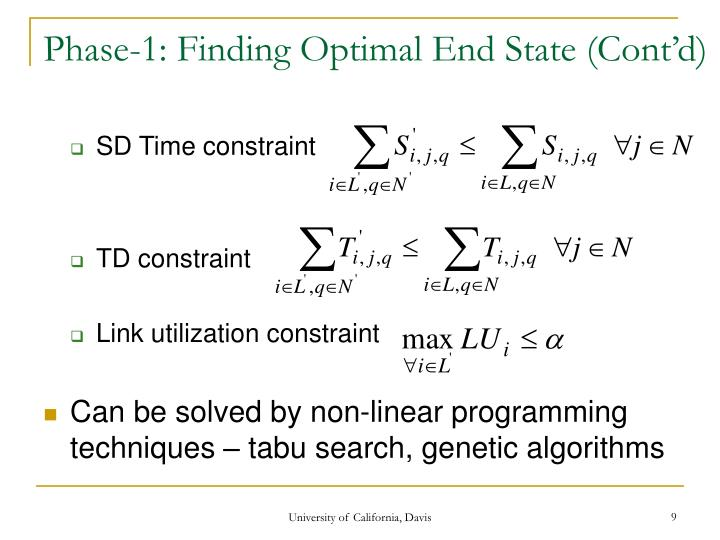 Phase-1: Finding Optimal End State (Cont'd)