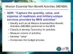 mission essential non benefit activities menba