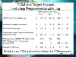 pom and target impacts including programmatic with lag