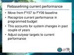 rebaselining current performance