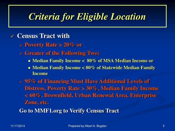 Criteria for Eligible Location