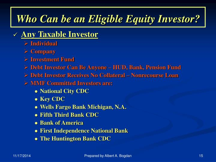 Who Can be an Eligible Equity Investor?