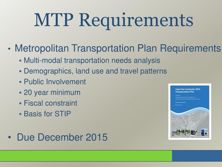 Metropolitan Transportation Plan Requirements