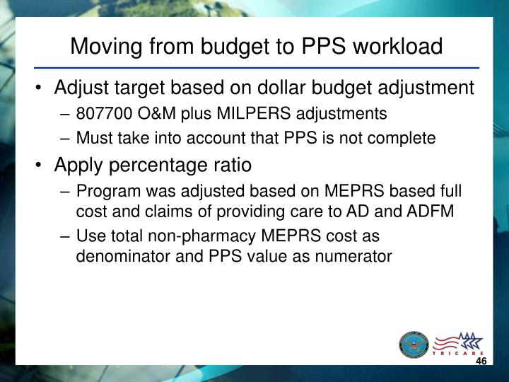 Moving from budget to PPS workload