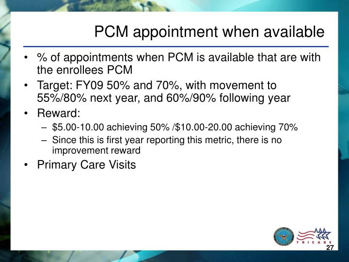 PCM appointment when available