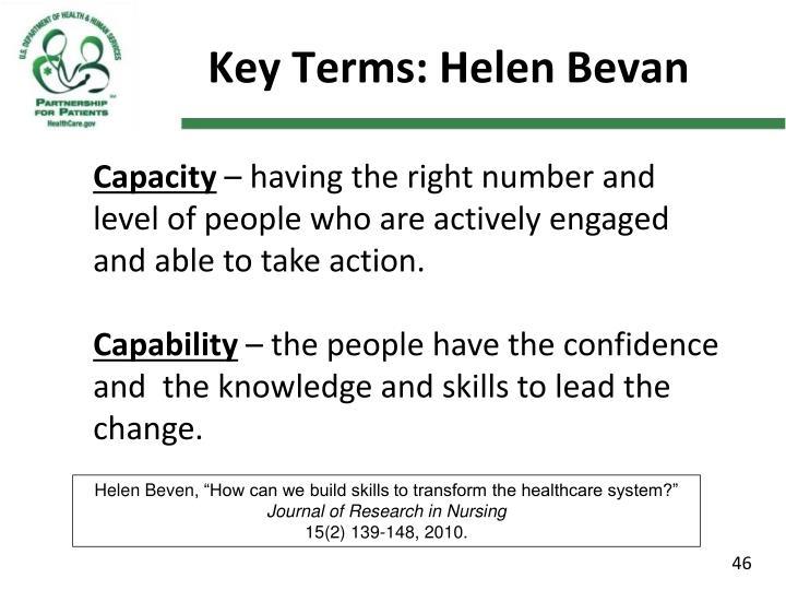 Key Terms: Helen Bevan
