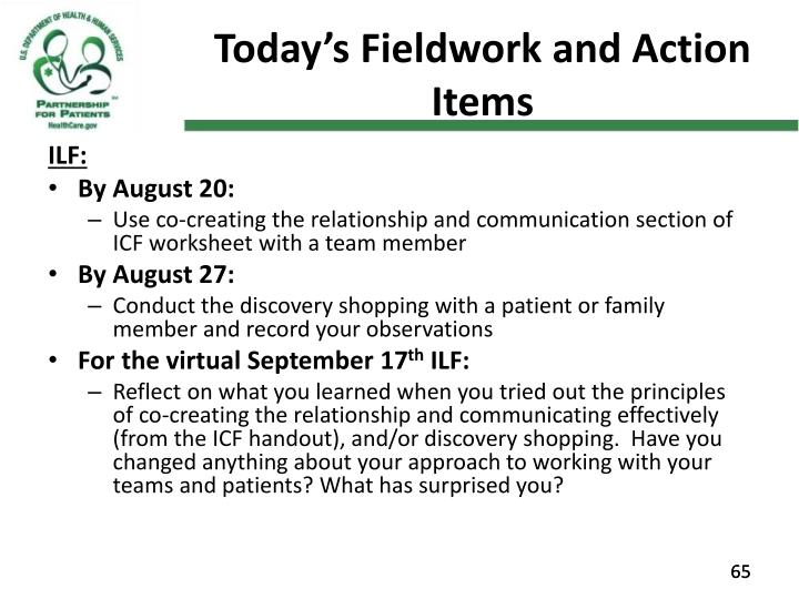 Today's Fieldwork and Action Items