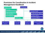 provisions for coordination in incident management handbook
