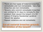 are all material breaches grounds for eviction of the tenant