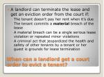 when can a landlord get a court order to evict a tenant