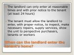 when can the landlord enter the tenant s home