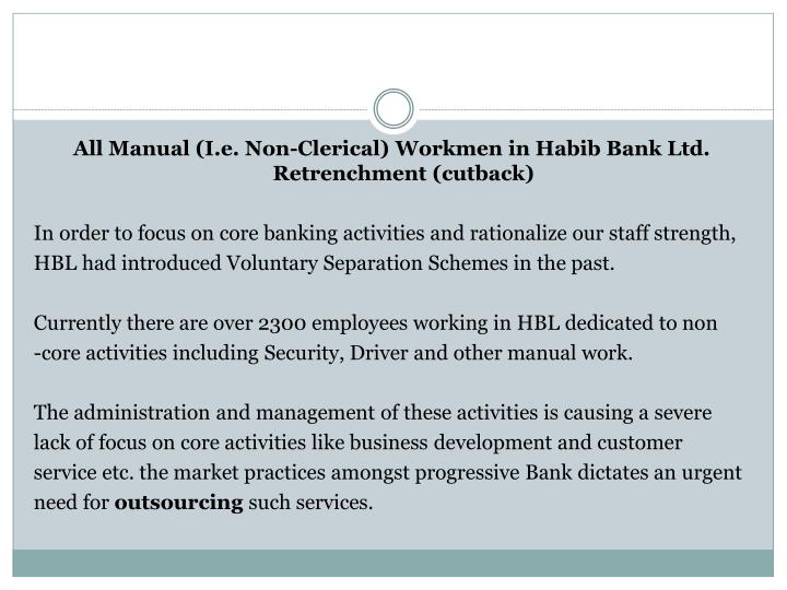 All Manual (I.e. Non-Clerical) Workmen in Habib Bank Ltd. Retrenchment (cutback)