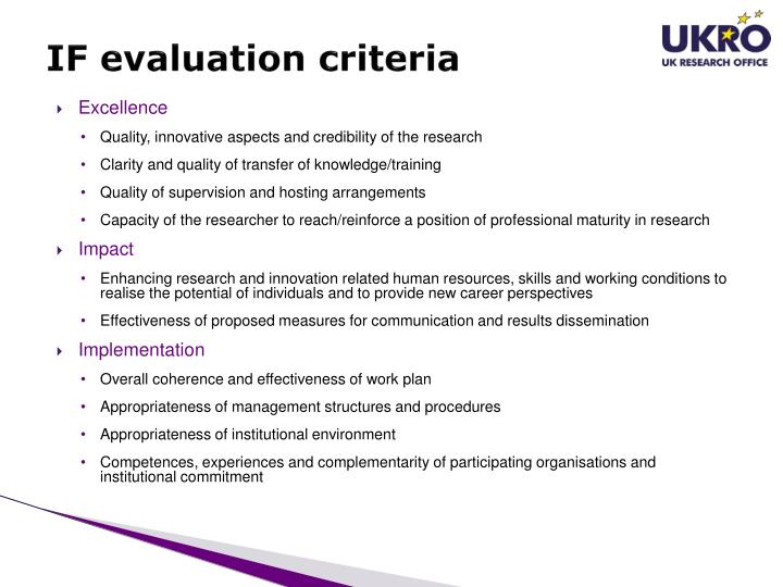 IF evaluation criteria