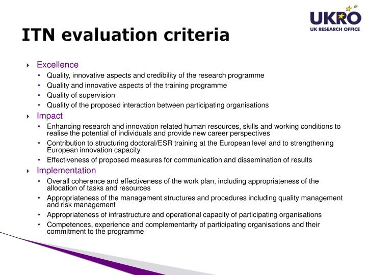 ITN evaluation criteria