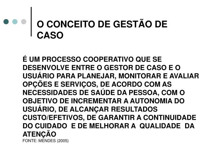 O CONCEITO DE GESTÃO DE CASO