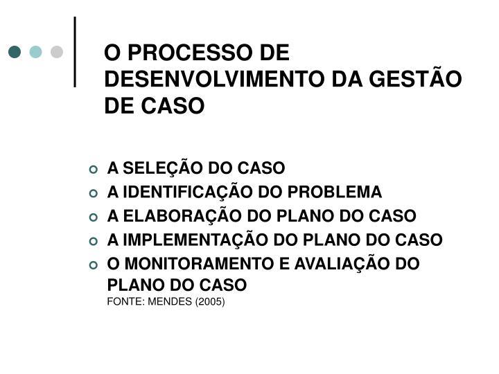 O PROCESSO DE DESENVOLVIMENTO DA GESTÃO DE CASO
