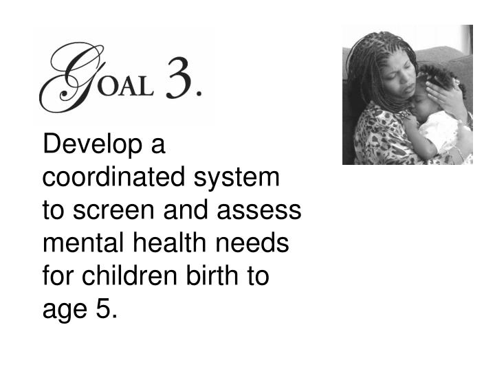 Develop a coordinated system to screen and assess mental health needs for children birth to age 5.