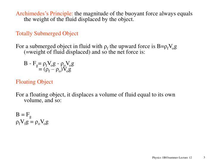 Archimedes's Principle: