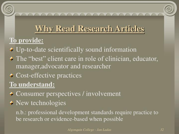 Why Read Research Articles