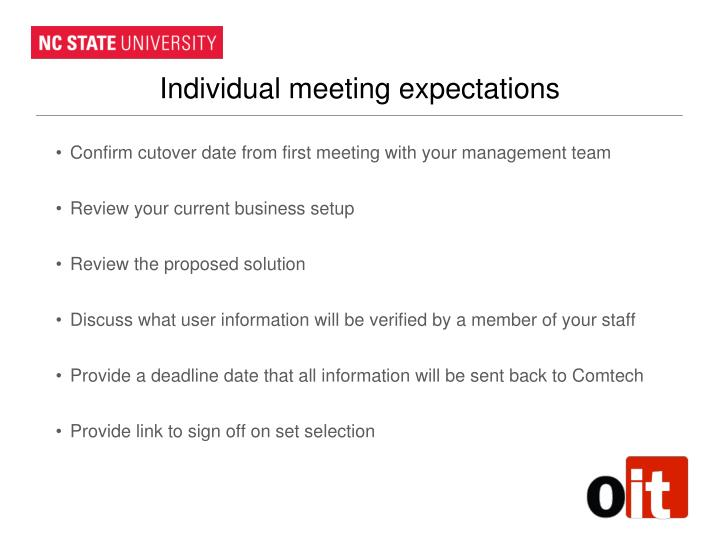 Individual meeting expectations