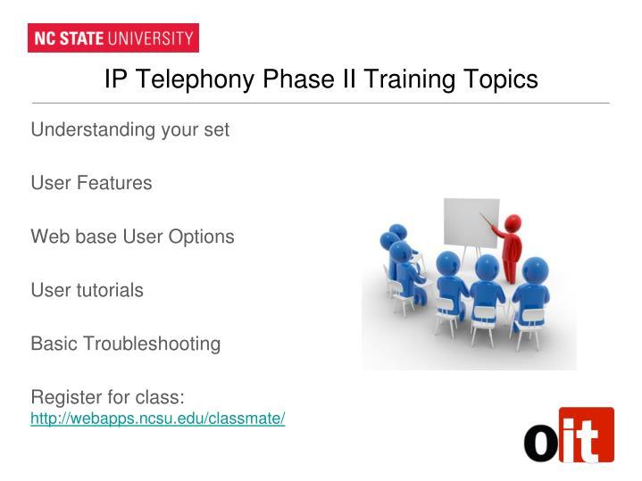 IP Telephony Phase II Training Topics