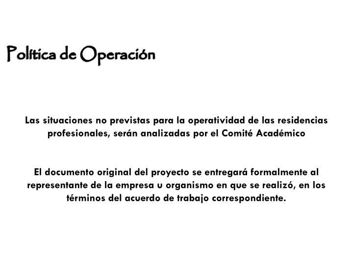 Política de Operación