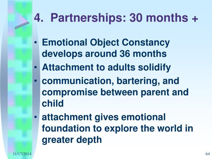 4.  Partnerships: 30 months +