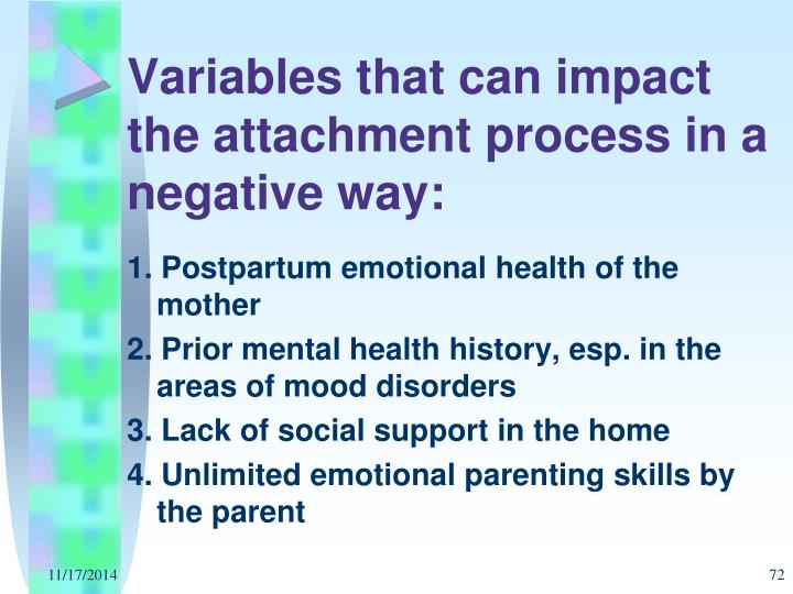 Variables that can impact the attachment process in a negative way: