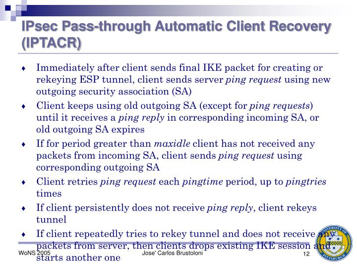 IPsec Pass-through Automatic Client Recovery (IPTACR)