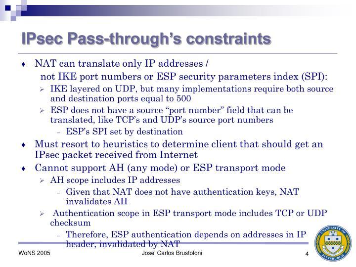 IPsec Pass-through's constraints