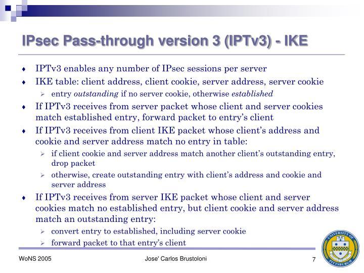 IPsec Pass-through version 3 (IPTv3) - IKE