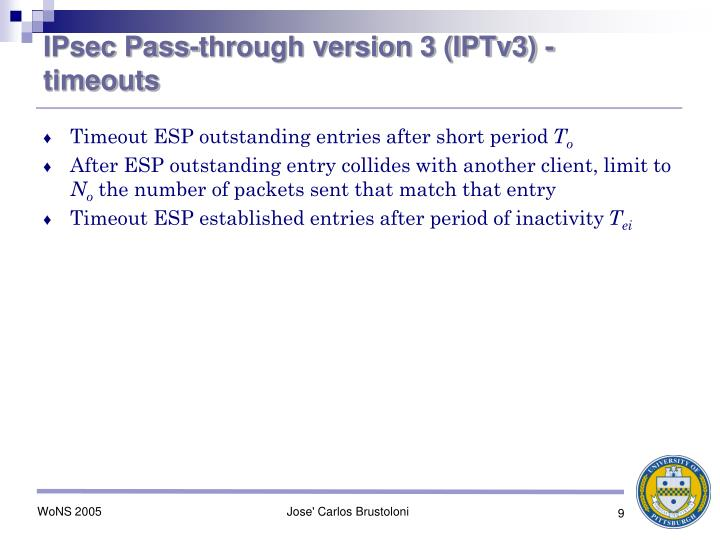 IPsec Pass-through version 3 (IPTv3) - timeouts
