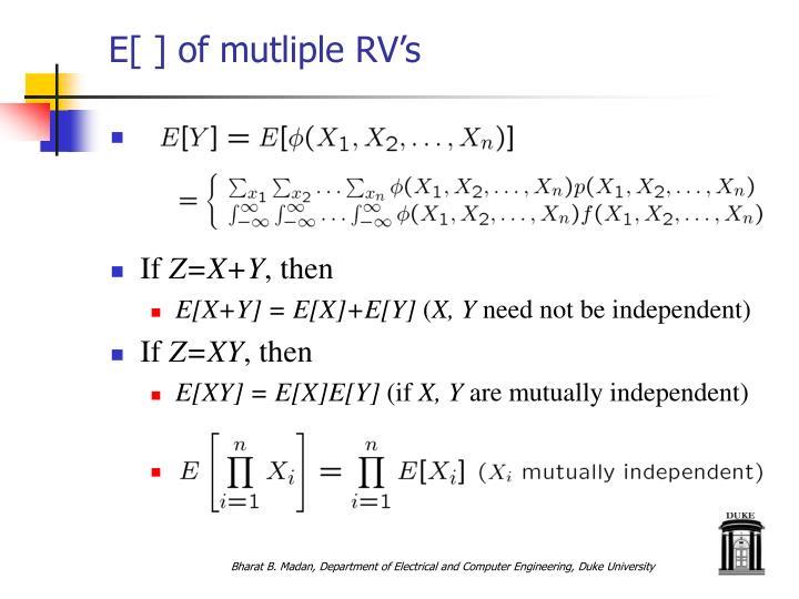E[ ] of mutliple RV's