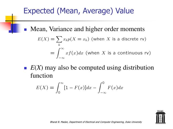 Expected mean average value
