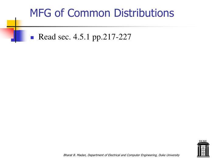 MFG of Common Distributions
