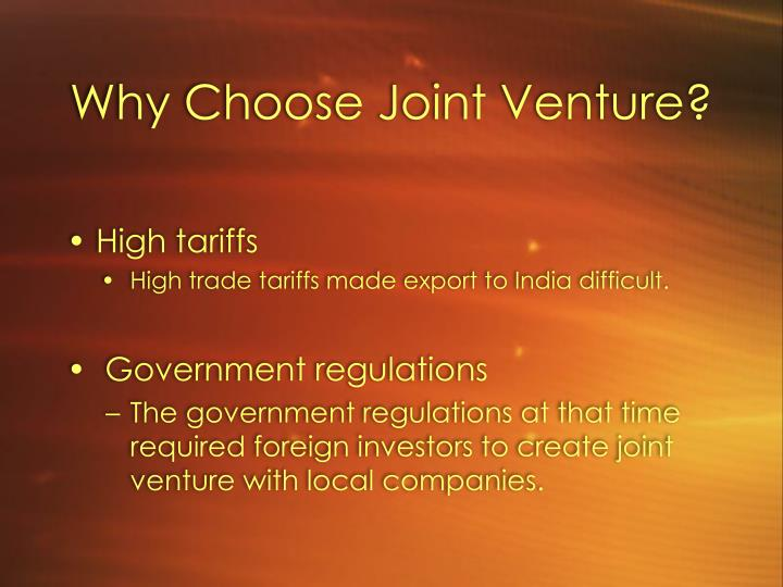 Why Choose Joint Venture?