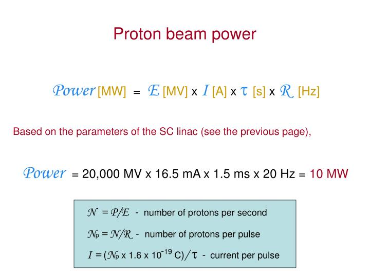 Proton beam power