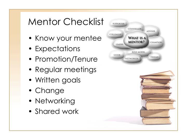 Mentor Checklist